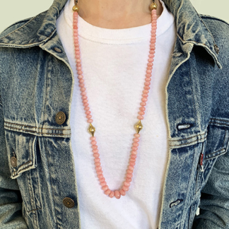 Peruvian Pink Opal Bead Necklace
