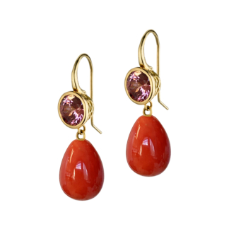 Zircon and Coral Drop Earrings