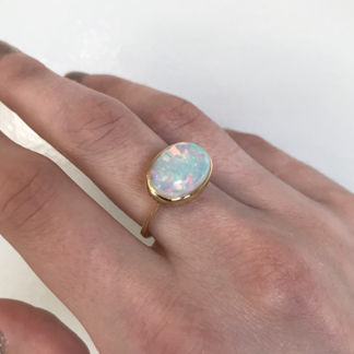 Cabochon Bezel Set Opal Ring