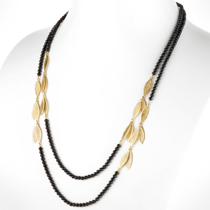 Black Spinel Fringe Triple Wrap Necklace