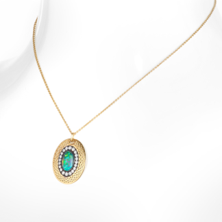 Black Opal & Diamond Crownwork® Regency Pendant