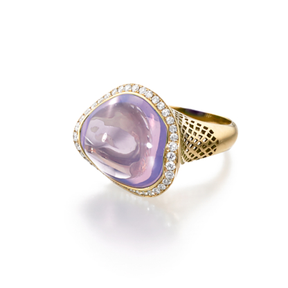 Asymmetric Lavender Moon Quartz Ring