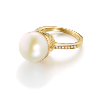 South Sea Pearl Ring with Diamonds