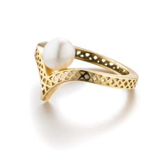 Crownwork® Wishbone Ring with Pearl