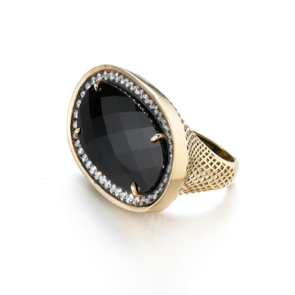 Checkerboard Onyx Cocktail Ring