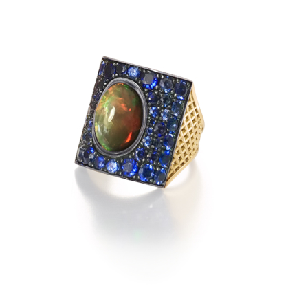Opal and Sapphire Ring