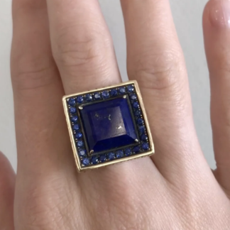 Lapis and Sapphire Square Ring
