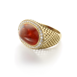 January birthstone spessartine garnet cocktail ring