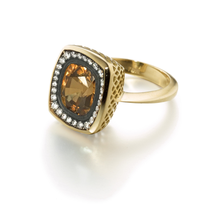 Golden Zircon and Diamond Ring
