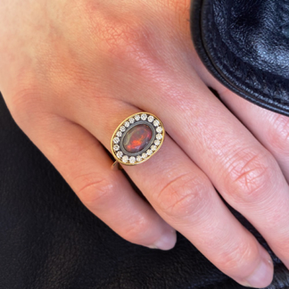 Faceted Black Opal and Diamond Ring